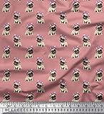Soimoi Rosa Poly Georgette Stoff Mops Hund gedruckt Craft