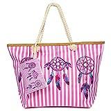 Weinsamkeit Bolso de Playa Grande, Bolsa de Playa para Mujer, Totalizador de Lona Shopper Bolsa de Hombro, Impermeable con Cremallera (G)