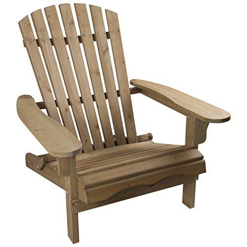 Woodside Adirondack Outdoor Garden Patio Chair, Comfortable Wooden Lounger