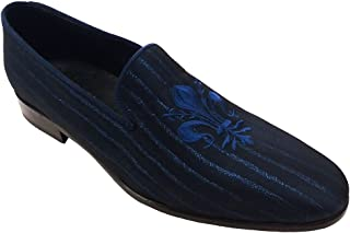 Garofalo Gianbattista Slippers in Tessuto Raso gessato Blu con Ricamo Giglio Personalizzabili