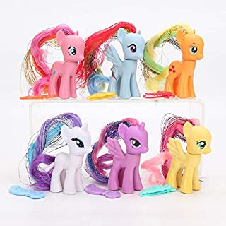 YOYOTOY 6Pcs Toys Rainbow Power Sparkle Rainbow Dash Pinkie Pie Rarity PVC Action Figures Collectible Model Doll Boy Must Haves Gift Tags The Favourite DVD Superhero Decorations One Collection