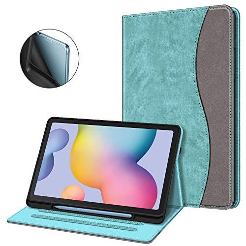 Fintie Hülle für Samsung Galaxy Tab S6 Lite, Soft TPU Rückseite Gehäuse Schutzhülle mit S Pen Halter und Dokumentschlitze für Samsung Tab S6 Lite 10.4 Zoll SM-P610/ P615 2020, Jeansoptik Türkis