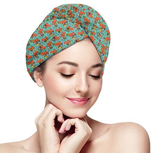 QHMY Mikrofaser-Haartuchwickel für Frauen Haartrocknerhandtuch mit Knopf Schnelltrocknender Magic Head Turban 11 \'x 28\' Eichhörnchen Kleidung Pilze Nüsse