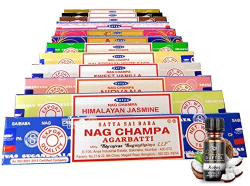 Satya Indische Räucherstäbchen Set 12x Nag Champa, zufällige Düfte a 15g + EIN original Teufelsküche Premium Duftöl