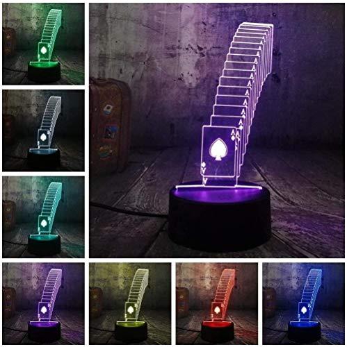 Schlaflampe Tischlampe Glossy Poker Solitaire Würfel Spiel Party 3D Nachtlampe Led Schreibtisch Schreibtisch Schlaflampe Home Decoration Teen Toy Geburtstag Weihnachtsgeschenk