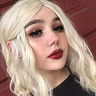 FESHFEN 14 Inches Bleach White Blonde Synthetic Wigs Short Bob Curly Wavy Left Side Lavender Costume Wig for Women Girls, 180 Grams