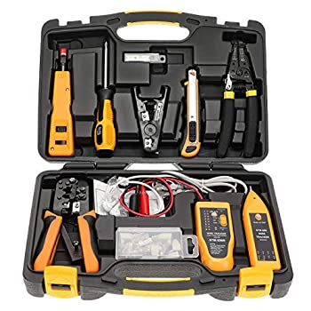 InstallerParts Network Repair Tool Kit 15 In 1 – Electronic Tool Set | Crimping Tool LAN/Ethernet/Cat5/Cat6 Cable Tester Gauge Wire Stripper Cutting Twisting Tool Punch Down Screwdriver Knife