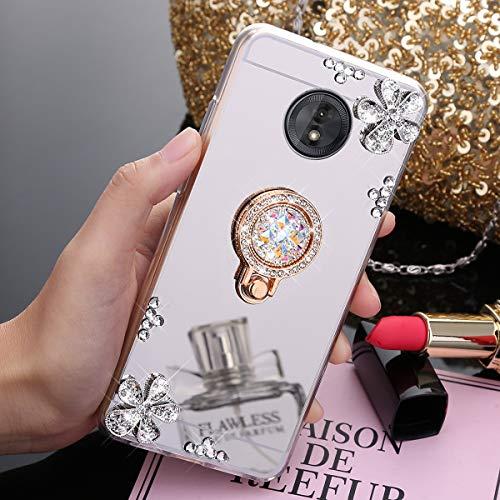 JAWSEU Compatible avec Coque Moto G6 Play Miroir Paillette Glitter Strass Fleur Silicone Gel TPU Etui Housse de Protection avec Diamant Support de Bague Antichoc Bumper Case,Argent