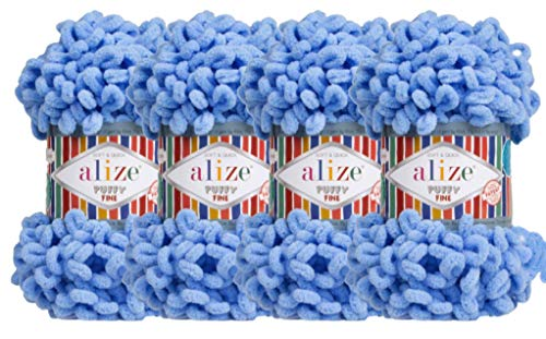 Alize Puffy Fine Baby Blanket Small Loop 100% Micropolyester Soft Yarn Lot of 4skn 400gr 64yds (112 - Blue)