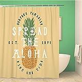 Awowee Decor Duschvorhang Spread the Aloha Ananas Surfer Paradise Ride Tide Surfen 152 x 180 cm Polyester Stoff Wasserdicht Badvorhänge Set mit Haken für Badezimmer