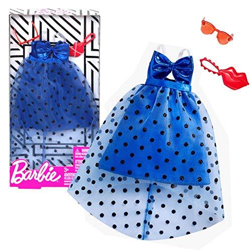 Barbie Tüll Cocktailkleid blau Mattel FXJ07   Trend Mode Puppen-Kleidung