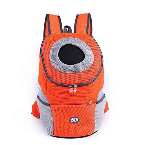 Yiqing Sac à Dos de Transporteur Confortable pour Chat et Chien, Sac pour Animal de Compagnie pour Chiot avec tête Respirante et épaule rembourrée,Orange,L