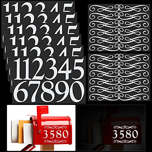 67 Pieces 7 Sheets 4 Inch Reflective Mailbox Numbers Mailbox Number Adhesive Address Number Rustic Style Flower House Number for Mailbox, Sign, Window, Door, Address Number (Simple Style)