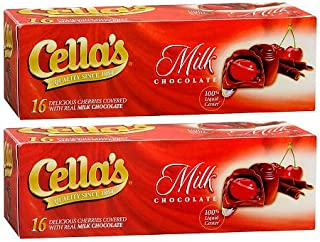 Cella's Milk Chocolate Covered Cherries, (2) 8 Ounce Boxes (Total 1 Pound)