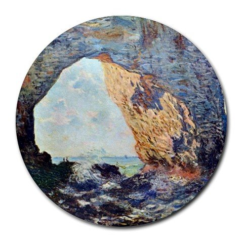 The Rocky Cliffs of Etretat 1 by Claude Monet Round Mouse Pad