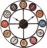 MLL Reloj de Pared de Hierro Forjado Retro, Creativo Reloj de Pared Redondo de Hierro Forjado de Ansimple, Reloj silencioso con números arábigos para Leer, Usado para decoración de Pared en el hogar
