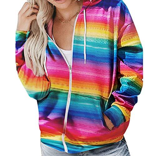 AKlamater KKSH Pull à capuche pour femme Imprimé arc-en-ciel Multicolore XL
