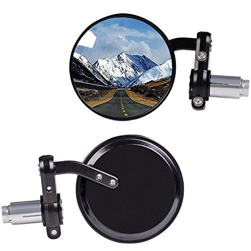 "KAWELL Rear View Side Mirror Round Bar End Convex Hawk Eye Motorcycle Mirror for 7/8"" Handle Bars Fits Most Harley Davidsons Suzuki Honda Kawasaki Cruisers"