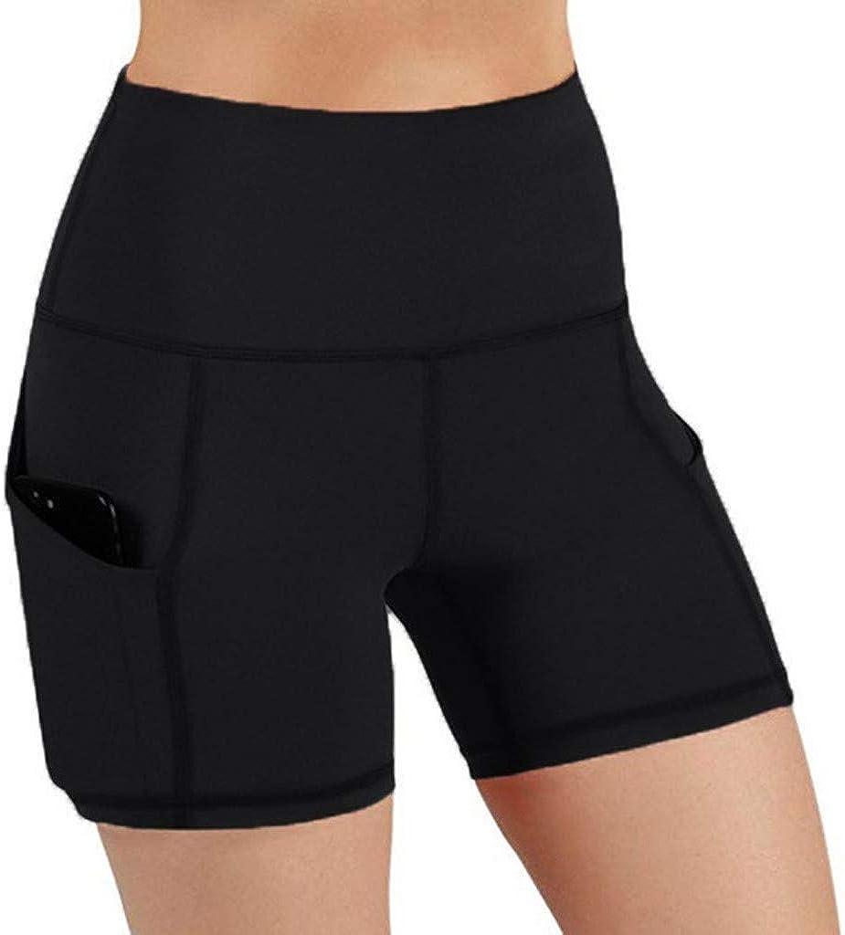 Liuxuelifg3 Women's Yoga Shorts,Women's High Waist Yoga Short Side Pocket Workout Tummy Control Bike Shorts Running Exercise