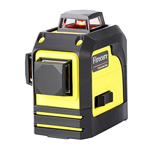 Firecore Linienlaser F93TR Kreuzlinienlaser Rot, 360 Grad Laserwasserwaage, Professional Linienlaser Selbstnivellierenden mit Pulsfunktion
