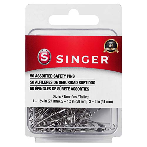 SINGER 00226 Assorted Safety Pins, Multisize, Nickel Plated, 50-Count