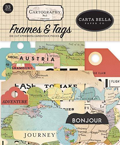 Carta Bella Paper Company Cartography No. 1 Frames & Tags Ephemera, rot, blau, hellbraun, sepia, gelb
