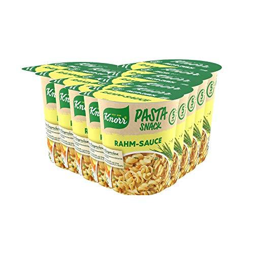 Knorr Pasta Snack Rahm Sauce leckeres Nudelgericht fertig in nur 5 Minuten - 8 x 62 g Becher -, 496 g