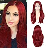 Quick Wig Red Lace Front Wigs Long Wavy Synthetic Wig Middle Part Heat Resistant Fiber Natural Looking Party Cosplay Full Wigs for Women