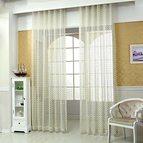 Met Love La nouvelle ligne ondulée Stripes Rideaux Haut de gamme simple chaîne Warp Écrans translucides Salon chambre étude balcon baie vitrée dédiée 2 panneaux (taille : L:3.0*H:2.7m)