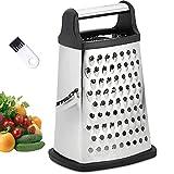 VBOK IGFE 4-seitige Reibe Edelstahl,Küchenreibe zum groben und feinem Raspeln, für Obst, Gemüse, Karotten, Käse, spülmaschinengeeignet