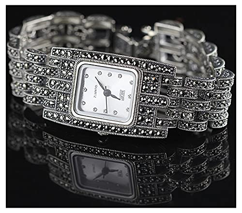 CHXISHOP Reloj de pulsera para mujer Movimiento de cuarzo con incrustaciones de diamante cuadrado reloj de pulsera de negocios reloj retro gótico blanco - 19cm