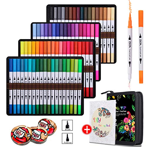 ZSCM 72 kolory podwójne pędzle pisaki artystyczne, artystyczne markery z cienką końcówką pędzla do kolorowania markery dla dorosłych kolorowanki, dzieci rysunek prezenty świąteczne pocisk pamiętnik do robienia przyborów szkolnych