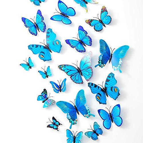 36 Mariposas 3D Pegatinas de Pared, Plástico Resistente a los Golpes, Decoración Para Casa, Pared, Balcón, Decoración (Azul)