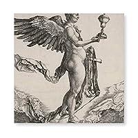 INVO アルブレヒト・デューラー著刻むネメシス 油絵 キャンバス ウォールアート フレーム付き 即壁掛け 40X40CM