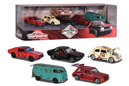Majorette 212052012 - Set regalo vintage Rusty, 5 auto giocattolo, Renault 5 Turbo, T1, Ford Mustang, VW Maggiolino, Toyota Celica GT Coupé, superficie arrugginita, 7,5 cm, multicolore