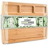 Timberr Large Organic Bamboo Cutting Board for Kitchen - Wood Charcuterie Board, Chopping Block,...