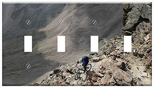 Switch Plate 4 Gang Toggle - Mountain Bike Bergsport Mtb Biker Sport Alpine