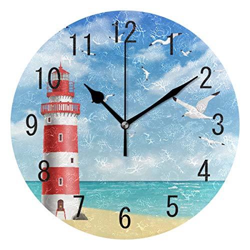 Use7 Wanduhr mit buntem Leuchtturm, Meer, Strand, Wellen, Vogel, rund, Acryl, kein Ticken, leise Uhr, Kunst für Wohnzimmer, Küche, Schlafzimmer