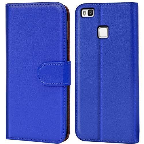 Verco P9 Lite Hülle, Handyhülle für Huawei P9 Lite Tasche PU Leder Flip Hülle Brieftasche - Blau