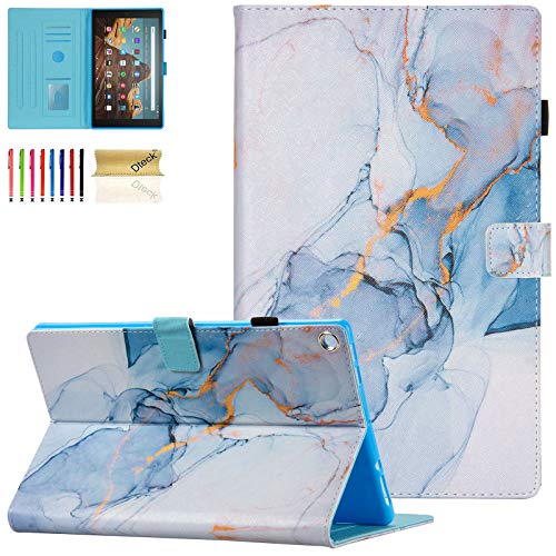Dteck Case for Fire HD 10 (9th/7th/5th Generation, 2019/2017/2015 Release) - Slim Premium PU Leather Folio Stand Magnetic Cover with Auto Wake/Sleep for All-New Amazon HD 10.1 Tablet, Gold Marble