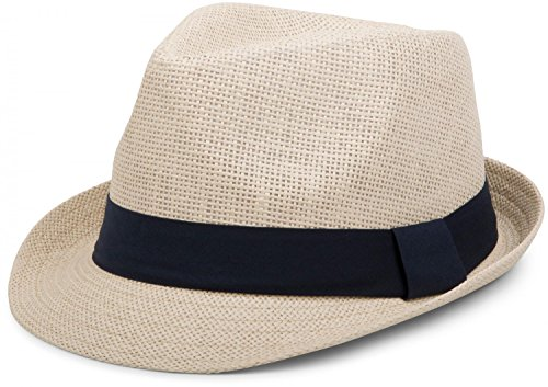 styleBREAKER Trilby Hut, Leichter Papierhut mit kontrastfarbigem Zierband, Unisex 04025002, Farbe:Natur/Midnight-Blue, Größe:S/M = 56 cm