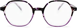 2SeeLife Hexagon Shaped Reading Glasses: Funky Readers, Geometric Glasses Frame, Fully Magnified Lenses   Purple, 3.00