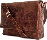 LEABAGS großer Messenger Bag/Umhängetasche/Schultertasche/Unitasche/Collegetasche aus echtem Büffelleder - Unisex - Vintage - ideal für Studium'Oxford' - CrazyVinkat