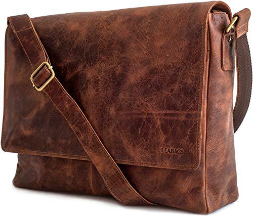 LEABAGS großer Messenger Bag/Umhängetasche/Schultertasche/Unitasche/Collegetasche aus echtem Büffelleder - Unisex - Vintage - ideal für Studium Oxford - Braun Meets Vinkat