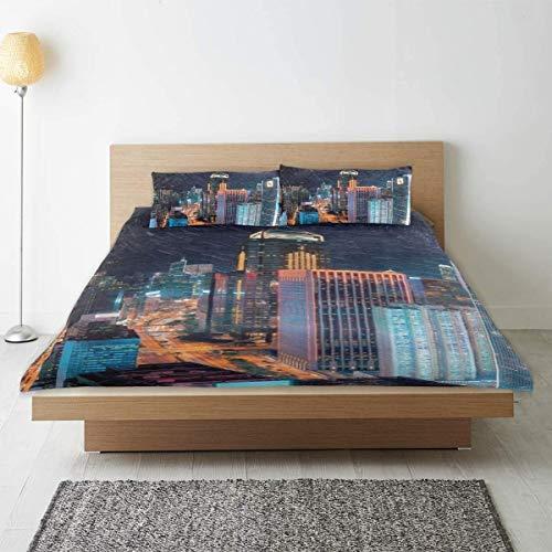 Bettbezug, farbige Weltkarte - Grenzen, L?nder, Stra?en und St?dte Bettbezug-Set, mit 1 Bettbezug 2 Kissenbezug, Design Tr?sterschutz