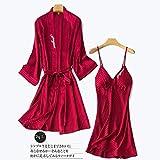 STJDM Bata de Noche,Azul 2 UNIDS Bordado Kimono Albornoz Vestido Twinset Robe Set Lady Satin Ropa de Dormir Sexy Camisón Novia Dama de Honor Vestido de Novia L Borgoña