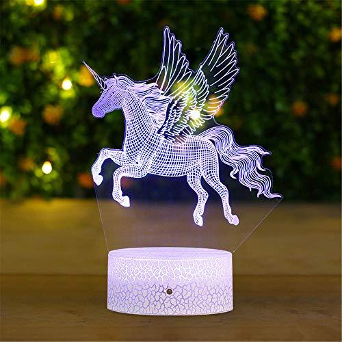 Luz de noche para niños de dibujos animados unicornio I 3D lámpara de luz USB recargable, dormitorios noche luces para la bahía niños amantes de cumpleaños regalos