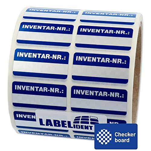 Labelident Inventaretiketten silber - Inventar-Nr.: - 38 x 19 mm - 1000 Inventaraufkleber auf 1 Rolle(n), Polyester Checkerboard Effekt, selbstklebend
