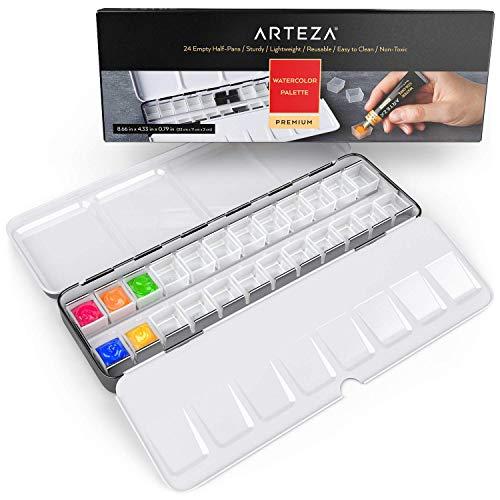 Arteza Leerer Aquarellkasten, Blechkasten mit 24 halben Pfannen aus Plastik, zur Aufbewahrung von Acryl-, Öl- und Aquarellfarben, für reisende Künstler und Studenten