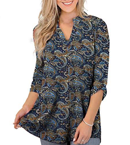 Othyroce 3/4 Roll Up Sleeve V Neck Dark Blue L Blouses Tunics Tops for women